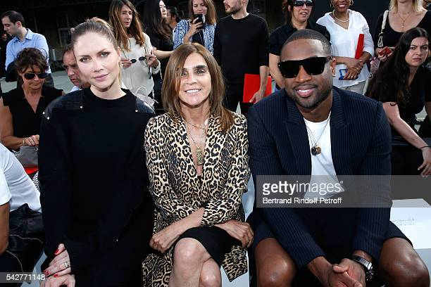 Model Ana Claudia Michels journalist Carine Roitfeld and basketball player Dwyane Wade attend the Givenchy Menswear Spring/Summer 2017 show as part...