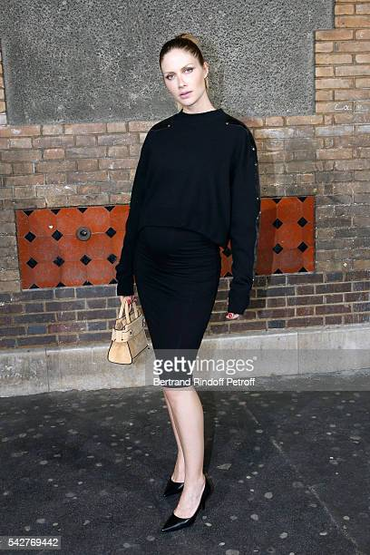 Model Ana Claudia Michels pregnant attends the Givenchy Menswear Spring/Summer 2017 show as part of Paris Fashion Week on June 24 2016 in Paris France