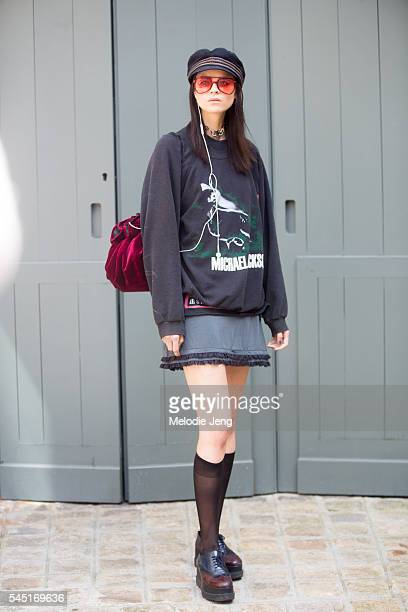 Model Ana Cristina wears vintage at the Alexis Mabille show at Place Vendome on July 5 2016 in Paris France