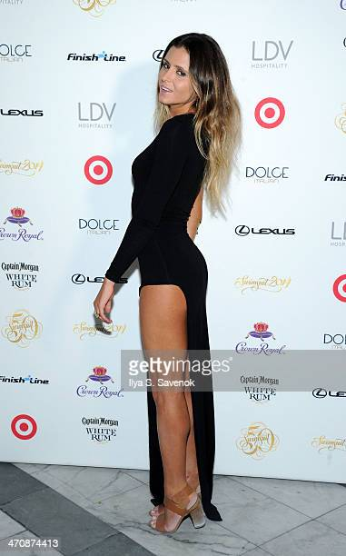 Model Anastasia Ashley arrives at SI Swimsuit South Beach Soiree at The Gale South Beach on February 20 2014 in Miami Beach Florida