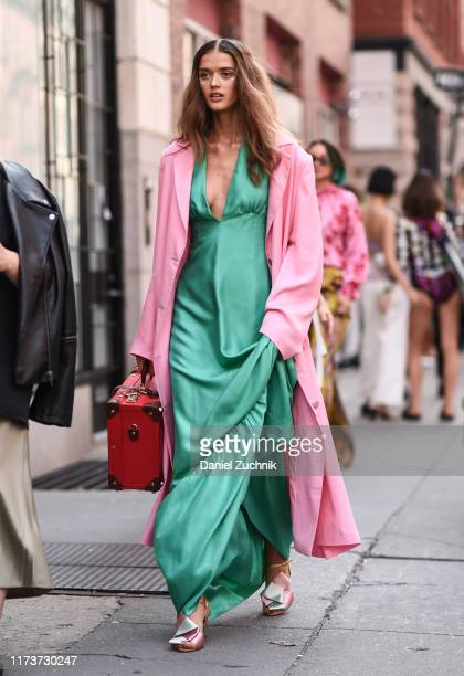 Model Anastasia Panasenko is seen wearing a Cynthia Rowley outfit outside the Cynthia Rowley show during New York Fashion Week S/S20 on September 10...