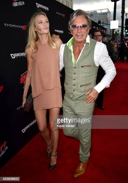 Model Anastassija Makarenko and actor Mickey Rourke attend the premiere of Dimension Films' 'Sin City A Dame To Kill For' at TCL Chinese Theatre on...