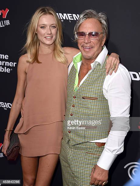 "Model Anastassija Makarenko and actor Mickey Rourke attend the premiere of Dimension Films' ""Sin City: A Dame To Kill For"" at TCL Chinese Theatre on..."