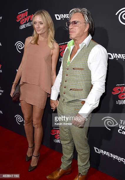 Model Anastassija Makarenko and actor Mickey Rourke attend the premiere of Dimension Films' Sin City A Dame To Kill For at TCL Chinese Theatre on...