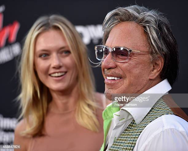 "Model Anastassija Makarenko and actor Mickey Rourke attends Premiere of Dimension Films' ""Sin City: A Dame To Kill For"" at TCL Chinese Theatre on..."