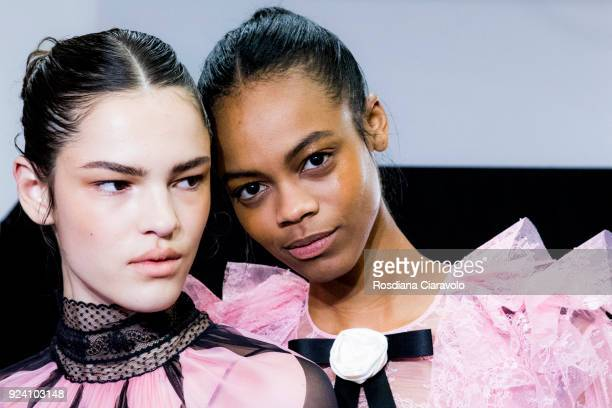 Model and Aaliyah Hydes are seen backstage ahead of the Philosophy Di Lorenzo Serafini show during Milan Fashion Week Fall/Winter 2018/19 on February...