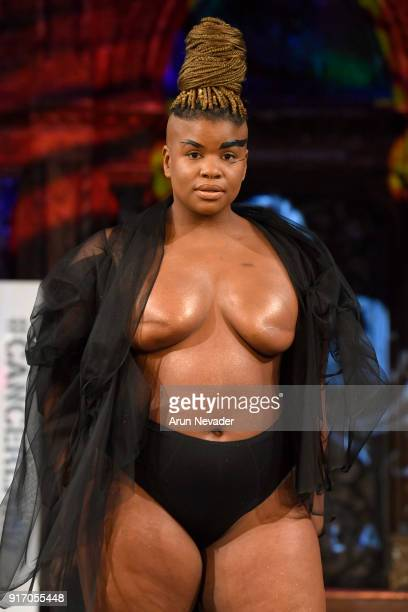 Model and activist Ericka Hart walks the runway during the Project Cancerland featuring AnaOno Initmates presentation during New York Fashion Week...
