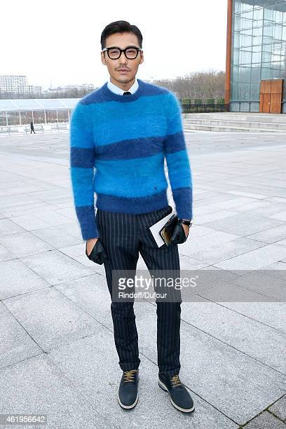 Model and actor Hu Bing attends the Louis Vuitton Menswear Fall/Winter 20152016 Show as part of Paris Fashion Week on January 22 2015 in Paris France