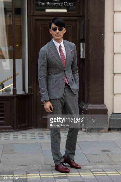 Model and Actor Hu Bing during London Fashion Week Men's on June 9 2018 in London England