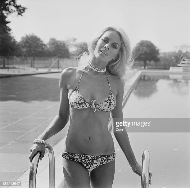 Model and actress Andrea Lloyd at the open air swimming pool in King George's Park, Wandsworth, London, UK, 16th September 1971.