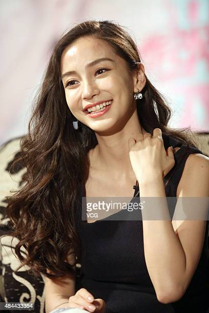 Model and actress Angelababy attends the program recording of Kevin Hour hosted by Cao Kefan on August 18 2015 in Shanghai China
