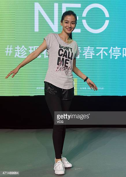 Model and actress Angelababy promotes Adidas's NEO on April 28 2015 in Shanghai China