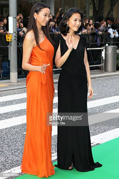 Model and actress Anne and actress Yoshino Kimura attend the 23rd Tokyo International Film Festival Opening Ceremony at Roppongi Hills on October 23,...