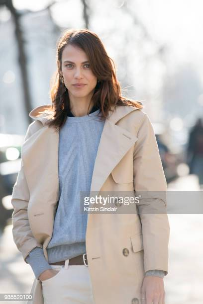 Model and actress Aymeline Valade wears a Lacoste trench coat day 3 of Paris Womens Fashion Week Spring/Summer 2018 on February 28 2018 in London...