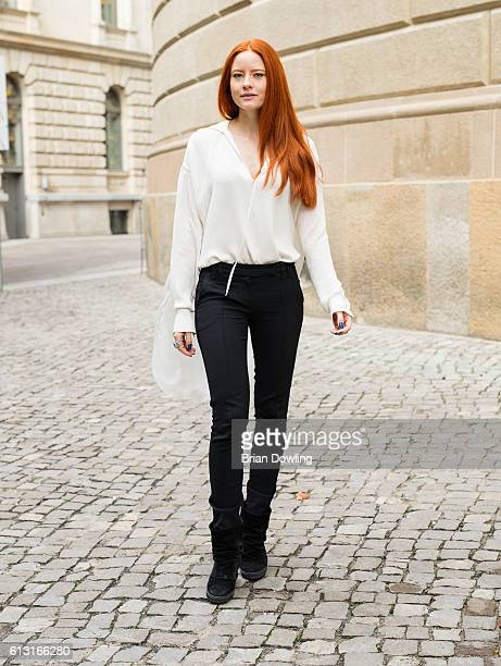 Model and actress Barbara Meier near Franzoesischer Dom in Mitte on October 7 2016 in Berlin Germany