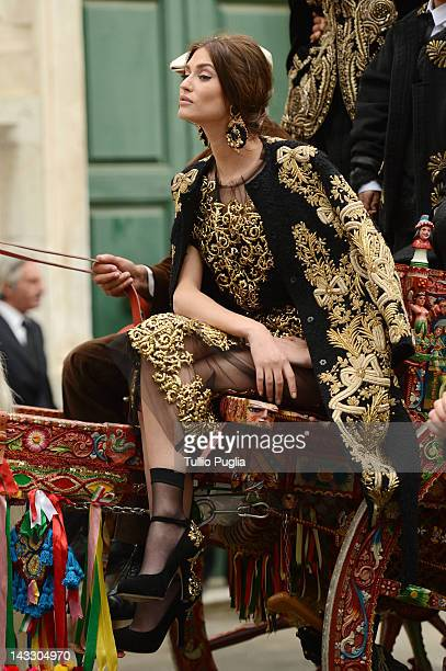 Model and actress Bianca Balti is seen on the set of Dolce & Gabbana new photography campaign on April 3, 2012 in Taormina, Italy.