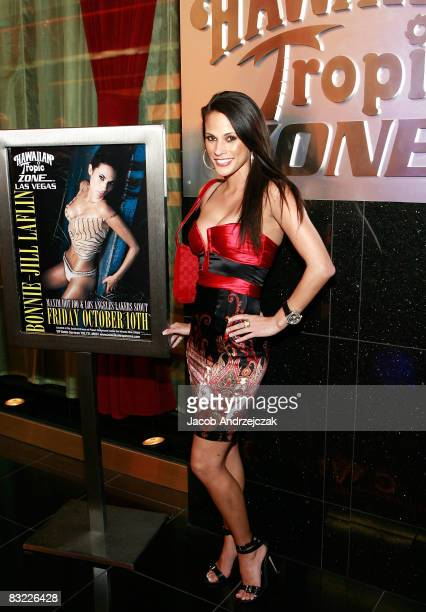 Model and actress BonnieJill Laflin arrives at the Hawaiian Tropic Zone at the Planet Hollywood Resort Casino on October 10 2008 in Las Vegas Nevada