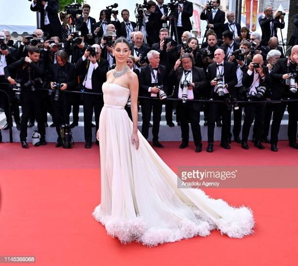 US model and actress Camila Morrone arrives for the screening of the film 'Once Upon A Time In Hollywood' in competition at the 72nd annual Cannes...