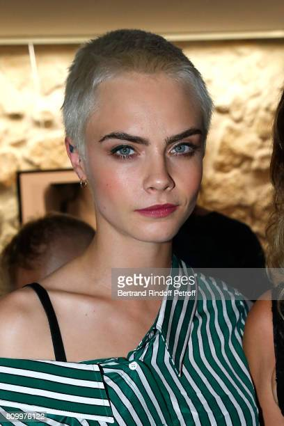 Model and actress Cara Delevingne attends the 'Don't Take it Personally' by Jade Jagger JeanBaptiste Pauchard Exhibition Party on July 6 2017 in...