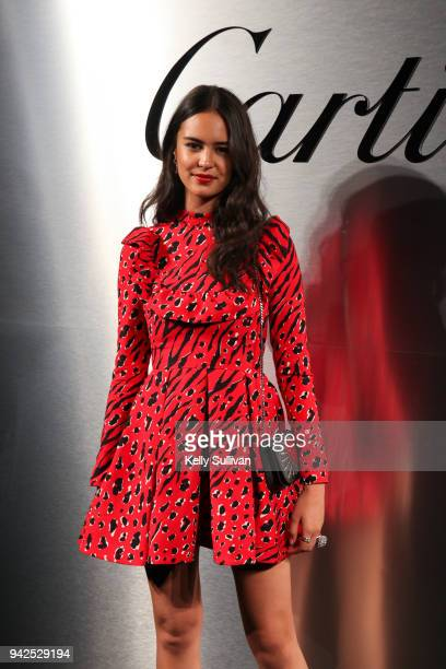 Model and actress Courtney Eaton arrives on the red carpet for the Santos de Cartier Watch Launch at Pier 48 on April 5 2018 in San Francisco...