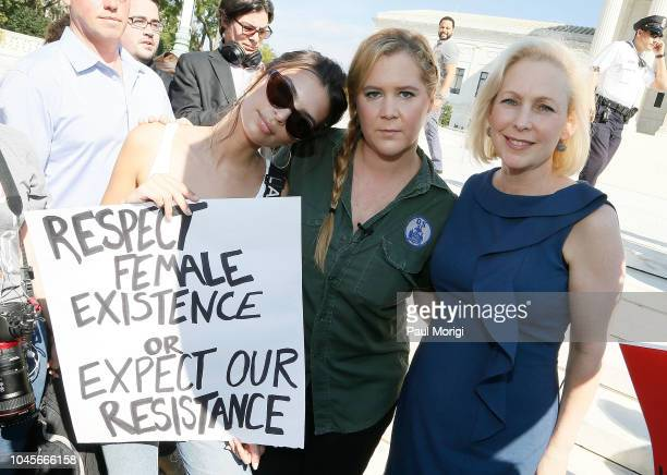 Model and actress Emily Ratajkowski actress and comedian Amy Schumer and Sen Kirsten Gillibrand join the Brett Kavanaugh US Supreme Court...