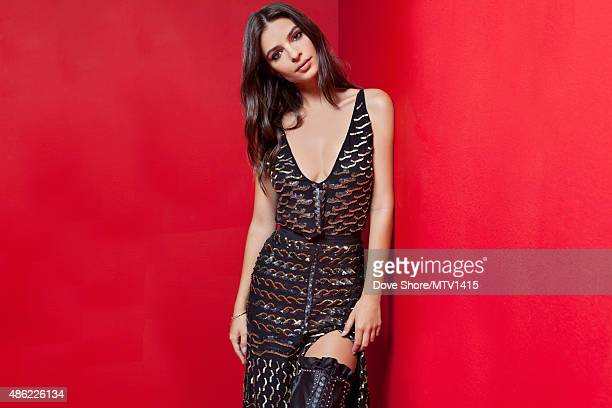 Model and actress Emily Ratajkowski is photographed at the 2015 MTV VMA Awards on August 30 2015 at the Microsoft Theater in Los Angeles California