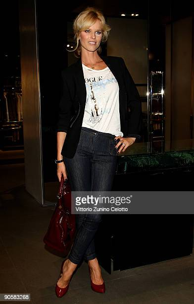 Model and Actress Eva Herzigova attends the VOGUE Fashion's Night Out at the Giorgio Armani boutique on September 10 2009 in Milan Italy