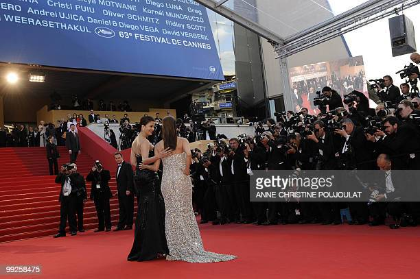 US model and actress Eva Longoria and Indian model Aishwarya Rai arrive for the screening of the film 'Tournee' presented in competiton at the 63rd...