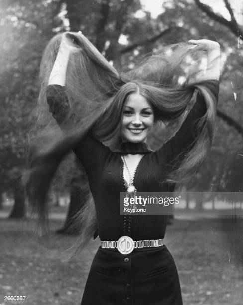 Model and actress Jane Seymour shows off her long tresses in the park London Original Publication People Disc HL0275