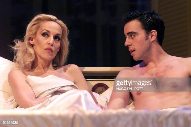 Model and actress Jerry Hall plays the role of 'Mrs Robinson' trying to seduce her best friend's son 'Benjamin Braddock' played by Josh Cohen in the...