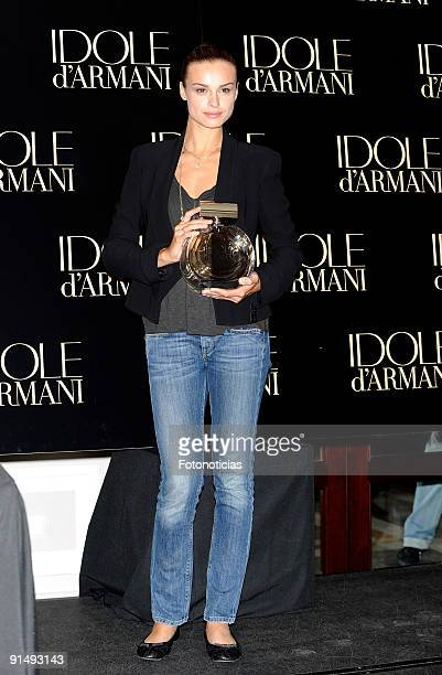 """Model and actress Kasia Smutniak presents """"Idole"""" by Armani at the Villamagna Hotel on October 6, 2009 in Madrid, Spain."""