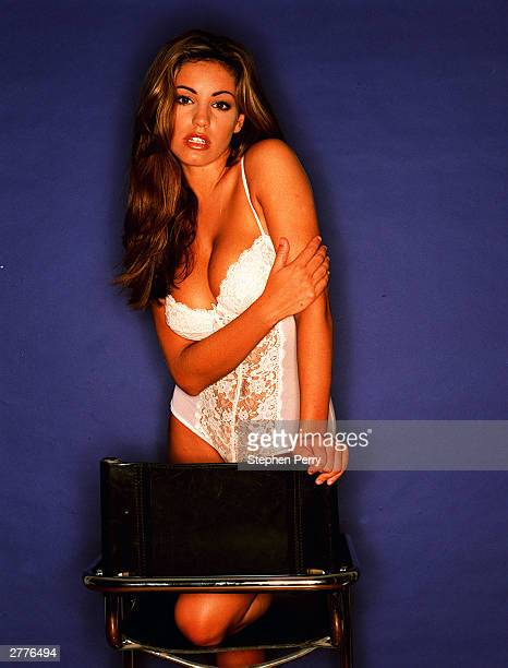 Model and actress Kelly Brook poses during a photoshoot held in 1998, in England.