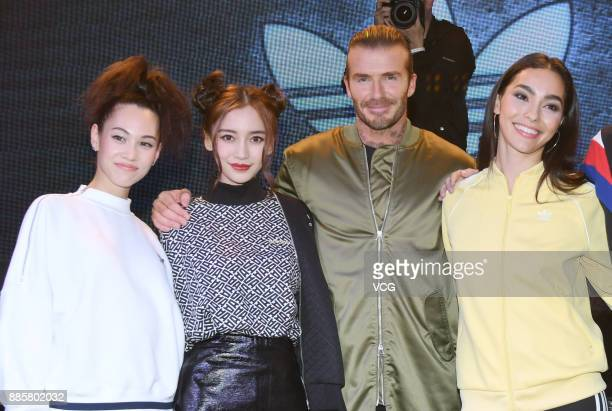 Model and actress Kiko Mizuhara actress Angelababy former footballer David Beckham and model Adrianne Ho attend Adidas Originals event on December 4...
