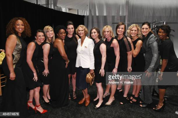 Model and actress Lauren Hutton poses with the Salute The Runway Models backstage at Salute The Runway Sponsored By Little Black Dress Wines Fatigues...