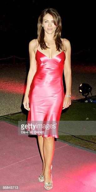Model and actress Liz Hurley lights up Kensington Palace as part of Octobers Breast Cancer Awareness month on October 3 2005 in London England