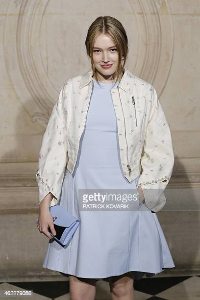 Model and actress Maddison Brown poses prior to attend Christian Dior 2015 Haute Couture Spring-Summer collection fashion show on January 26, 2015 in...