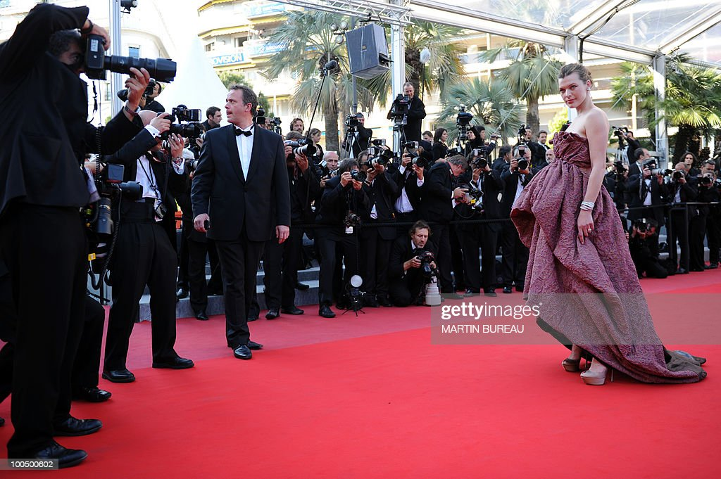 US model and actress Milla Jovovich arrives for the screening of 'Utomlyonnye Solntsem 2: Predstoyanie' (The Exodus - Burnt By The Sun 2) presented in competition at the 63rd Cannes Film Festival on May 22, 2010 in Cannes.