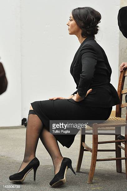 Model and actress Monica Bellucci is seen on the set of Dolce Gabbana new photography campaign on April 3 2012 in Taormina Italy