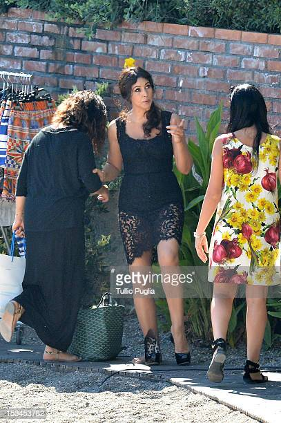 Model and actress Monica Bellucci is seen on the set of Dolce Gabbana new photography campaign on October 4 2012 in Taormina Italy