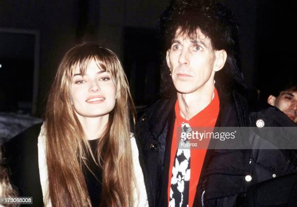 Model and actress Paulina Porizkova with her husband, singer Ric Ocasek, circa 1990.