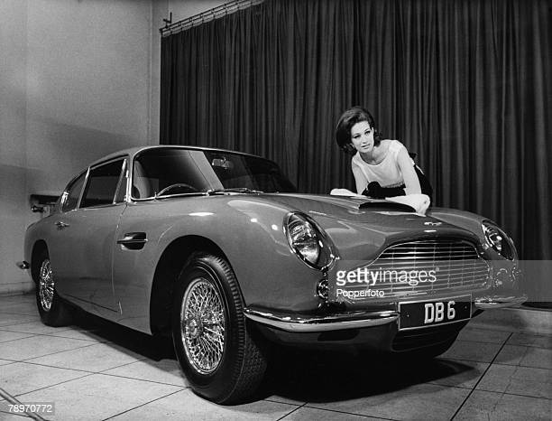 Transport London England Model and actress Valerie Leon with a Aston Martin DB6 sports car The car is James Bond's drive in the latest movie called...