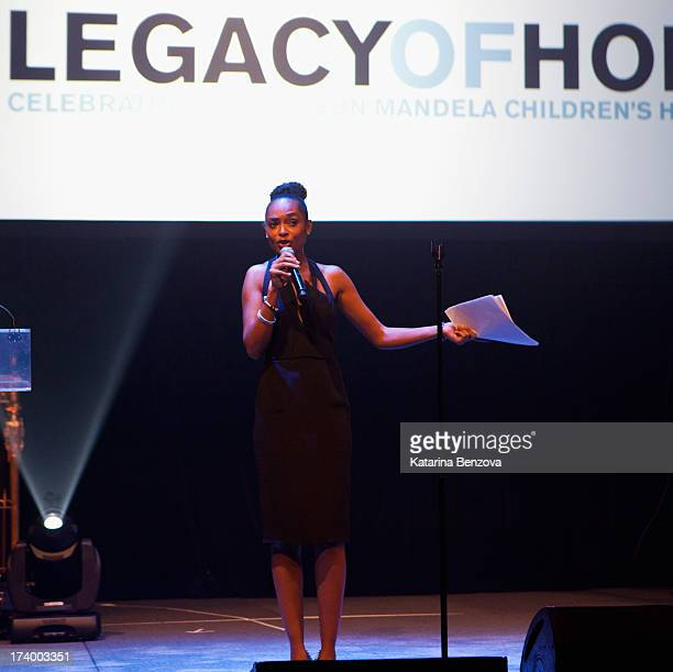 Model and Ambassador of the Nelson Mandela Childrens Fund Susan Gossage speaks during The Nelson Mandela Legacy Of Hope Foundation Event at Gotham...