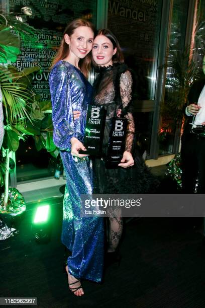Model and award winner Anna Wilken and influencer and award winner Vanessa Tamkan at the Place To B Awards at AxelSpringerHaus on November 16 2019 in...