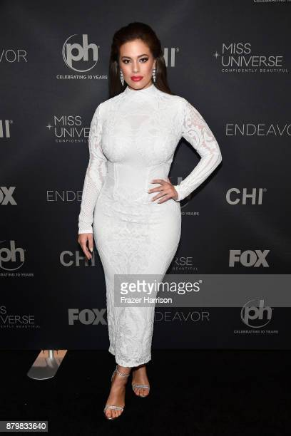 Model and backstage host Ashley Graham attends the 2017 Miss Universe Pageant at Planet Hollywood Resort Casino on November 26 2017 in Las Vegas...
