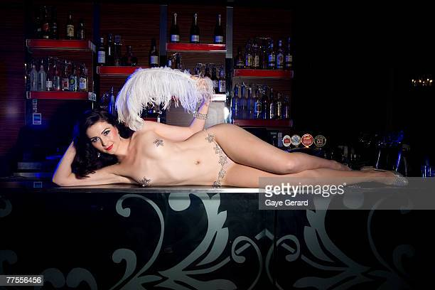 Model and Burlesque performer Gypsy Wood poses in one of her show costumes of a vintage lingerie theme at the Dome Bar Surry Hills on October 22 2007...