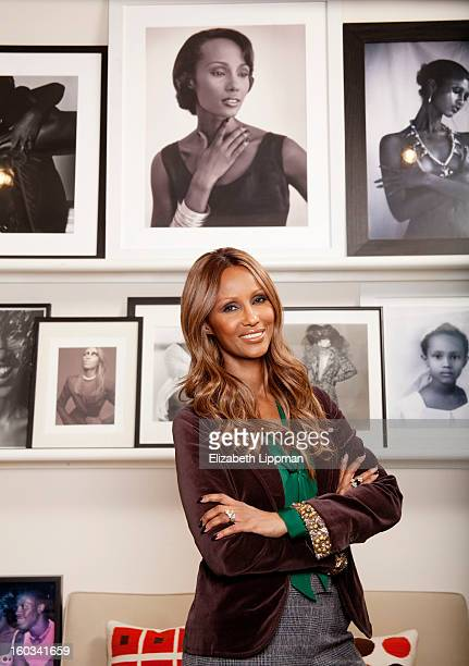 Model and business woman Iman is photographed for New York Times on December 18 2012 in New York City