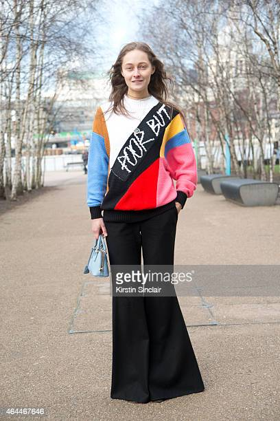 Model and Creative Director at Mercedes Benz fashion week Kiev Daria Shapovalova wears an Anton sweater Prada bag Anton Belinsky top and trousers on...