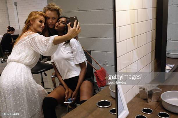 Model and creator Cintia Dicker Aline Weber and Ubah Hassan attends the Dicker Swimwear popup shop launch at the Maria Bonita Salon on September 9...