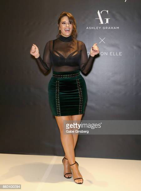 Model and designer Ashley Graham arrives at her latest lingerie collection launch at Macy's at the Fashion Show mall on November 29 2017 in Las Vegas...