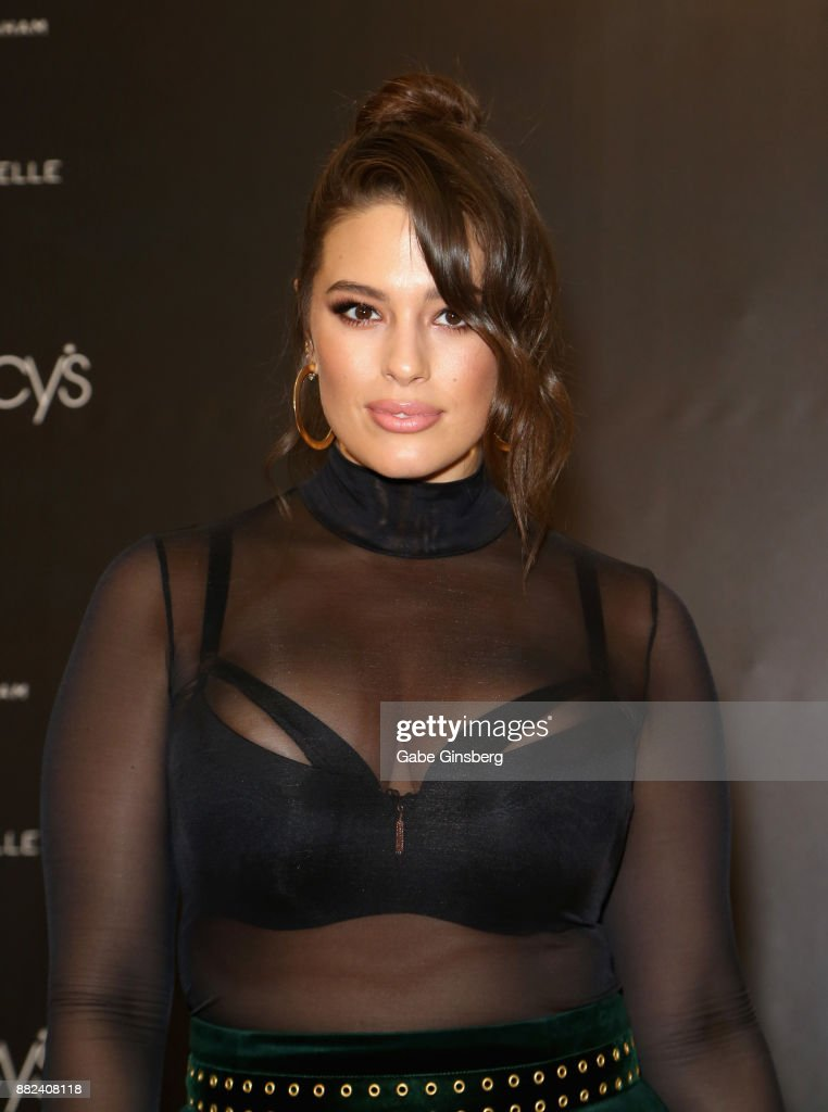 Model and designer Ashley Graham arrives at her latest lingerie collection launch at Macy's at the Fashion Show mall on November 29, 2017 in Las Vegas, Nevada.